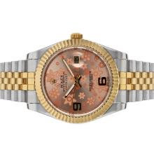 Rolex Datejust II Automatic Two Tone with Pink Floral Motif Dial