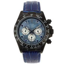 Rolex Daytona Working Chronograph PVD Case Blue Diamond Markers with Blue MOP Dial Blue Leather Strap