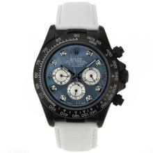 Rolex Daytona Working Chronograph PVD Case Diamond Markers with Blue MOP Dial White Leather Strap