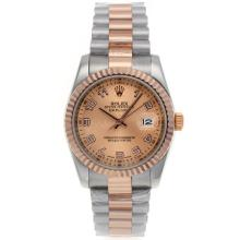 Rolex Datejust Automatic Two Tone Number Markers with Champagne Dial