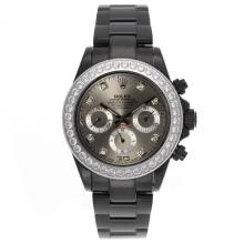 Rolex Daytona Automatic Full PVD Diamond Bezel and Markers with Gray Dial