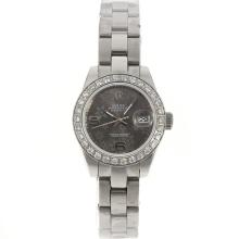 Rolex Datejust Automatic Diamond Bezel with Gray Floral Motif Dial 2009 New Version