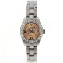 Rolex Datejust Automatic Diamond Bezel with Champagne Floral Motif Dial 2009 New Version