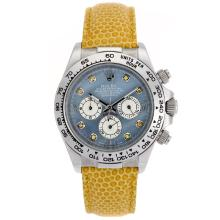 Rolex Daytona Working Chronograph Diamond Markers and Blue MOP Dial Yellow Leather Strap