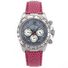 Rolex Daytona Working Chronograph Red Diamond Markers and Blue MOP Dial Pink Leather Strap