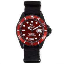 Rolex Submariner Coca Cola Automatic PVD Case with Red Dial and Bezel-Nylon Strap
