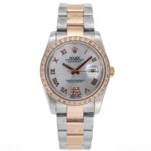 Rolex Datejust Automatic Two Tone Diamond Bezel Roman Markers with Silver Dial Sapphire Glass-2