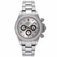 Rolex Daytona Working Chronograph Diamond Bezel Number Markers with Silver Dial S/S