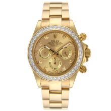 Rolex Daytona Working Chronograph Full Gold Diamond Bezel and Markers with Golden Dial