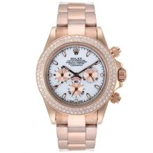 Rolxe Daytona Working Chronograph Full Rose Gold Diamond Bezel Stick Markers with White Dial