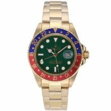 Rolex GMT-Master II Automatic Full Gold Red/Blue Bezel with Green Dial