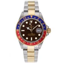Rolex GMT-Master II Automatic Two Tone Red/Blue Bezel with Brown Dial