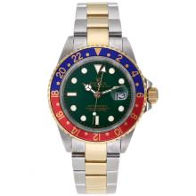 Rolex GMT-Master II Automatic Two Tone Red/Blue Bezel with Green Dial