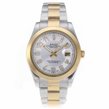 Rolex Datejust II Automatic Two Tone Number Markers with White Dial