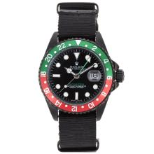 Rolex GMT-Master II Automatic PVD Case Red/Green Bezel with Nylon Strap