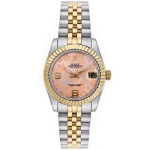 Rolex Datejust Automatic Two Tone with Pink Floral Motif Dial Mid Size