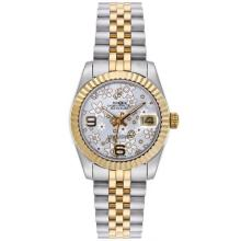 Rolex Datejust Automatic Two Tone with Silver Floral Motif Dial Mid Size