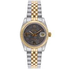 Rolex Datejust Automatic Two Tone with Gray Floral Motif Dial Mid Size