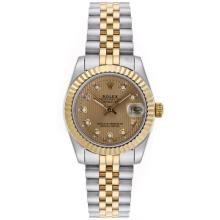 Rolex Datejust Automatic Two Tone Diamond Markers with Golden Dial Mid Size-2