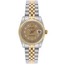 Rolex Datejust Automatic Two Tone Diamond Markers with Golden Dial Mid Size-1
