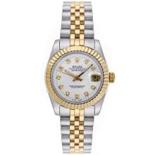 Rolex Datejust Automatic Two Tone Diamond Markers with Silver Dial Mid Size