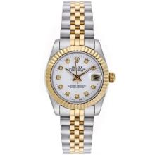 Rolex Datejust Automatic Two Tone Diamond Markers with White Dial Mid Size