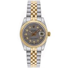 Rolex Datejust Automatic Two Tone Diamond Markers with Gray Dial Mid Size