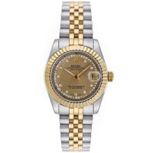 Rolex Datejust Automatic Two Tone Diamond Markers with Golden Dial Mid Size
