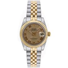 Rolex Datejust Automatic Two Tone Roman Markers with Golden Dial Mid Size-1