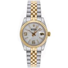 Rolex Datejust Automatic Two Tone with Silver Watermark Dial Mid Size