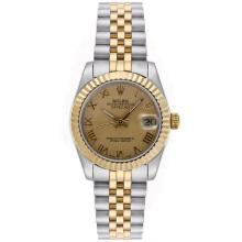 Rolex Datejust Automatic Two Tone Roman Markers with Golden Dial Mid Size