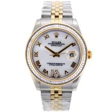 Rolex Datejust II Swiss ETA 2836 Movement Two Tone CZ Diamond Bezel Roman Markers with MOP Dial 1