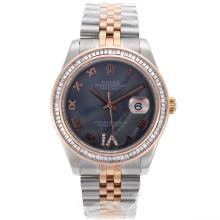 Rolex Datejust II Swiss ETA 2836 Movement Two Tone CZ Diamond Bezel Roman Markers with Black MOP Dial