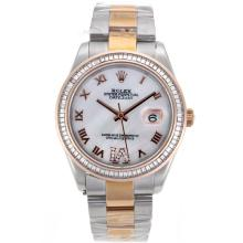 Rolex Datejust II Swiss ETA 2836 Movement Two Tone CZ Diamond Bezel Roman Markers with MOP Dial