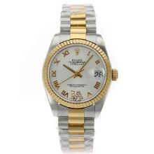 Rolex Datejust Swiss ETA 2836 Movement Two Tone Roman Markers with White Dial S/S Mid Size-2