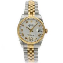 Rolex Datejust Swiss ETA 2836 Movement Two Tone Roman Markers with White Dial S/S Mid Size-1