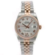 Rolex Datejust Swiss ETA 2836 Movement Two Tone Roman Markers with White Dial S/S Mid Size