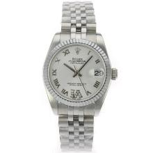 Rolex Datejust Swiss ETA 2836 Movement Roman Markers with White Dial S/S Mid Size