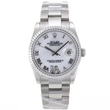 Rolex Datejust Swiss ETA 2836 Movement Roman Markers with White Mop Dial S/S Mid Size-2