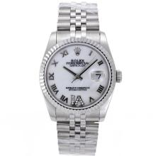 Rolex Datejust Swiss ETA 2836 Movement Roman Markers with White Mop Dial S/S Mid Size-1