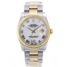 Rolex Datejust Swiss ETA 2836 Movement Two Tone Roman Markers with MOP Dial S/S Mid Size
