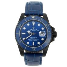 Rolex Submariner Automatic PVD Case Ceramic Bezel with Blue Dial Sapphire Glass