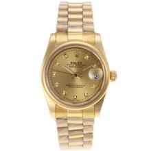 Rolex Datejust Automatic Full Gold Diamond Marking with Golden Dial Sapphire Glass-1
