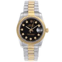 Rolex Datejust Automatic Two Tone Diamond Marking with Black Dial Sapphire Glass