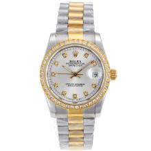 Rolex Datejust Automatic Two Tone Diamond Marking and Bezel with Silver Dial Sapphire Glass