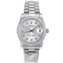 Rolex Datejust Automatic Diamond Marking and Bezel with Silver Dial S/S-Sapphire Glass