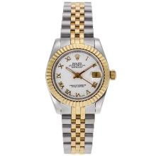 Rolex Datejust Automatic Two Tone Roman Markers with White Dial Mid Size