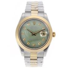 Rolex Datejust II Swiss ETA 2836 Movement Two Tone Diamond Markers with Green MOP Dial