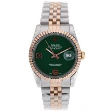 Rolex Datejust Automatic Two Tone With Green Dial