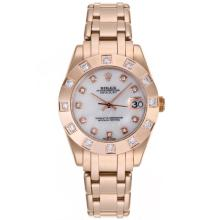 Rolex Masterpiece Swiss ETA 2836 Movement Full Rose Gold Diamond Marking with White MOP Dial Mid Size